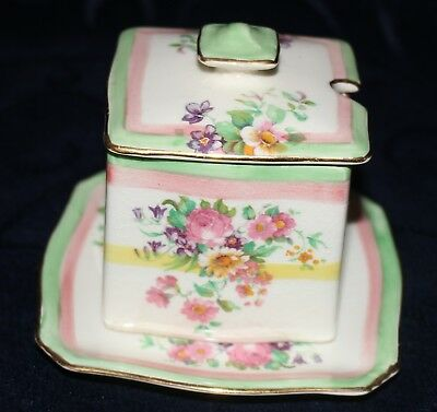 Royal Winton sugar jam honey pot lidded under plate floral pattern very pretty
