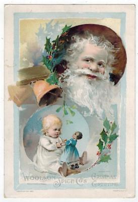 1890 Lion Coffee Victorian Trade Card Christmas Greeting Jolly Santa Claus