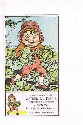 VICTORIAN ADVERTISING / TRADE Card    ARTHUR M. FLURRIE, CIGARS  -  CHARLESTOWN