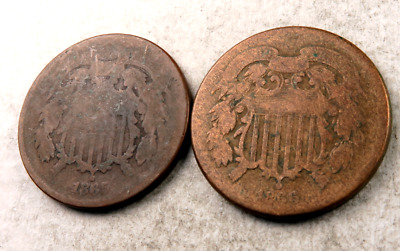 1865+1866 Two Cent Piece (2 Cent) Lot // VG-Good // 2 Coins // (TCL16)