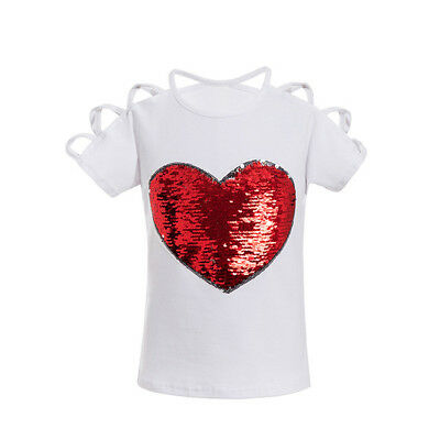 Cotton Short Sleeve T-Shirt  Reversible Heart Sequin Top Shirts for Baby Girls