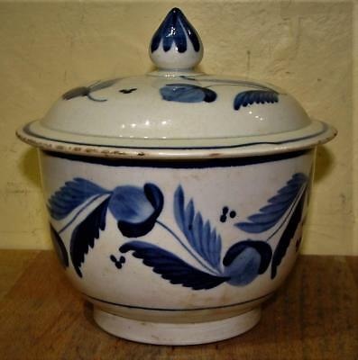 Antique Leeds Style Pearlware Hand Painted Covered Sugar Bowl, c. 1800