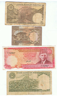 4 X Pakistan Banknotes Lot B