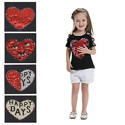 Cute Toddler Girls Short Sleeve T-Shirt Changing Sequin Letter Print Top Blouse