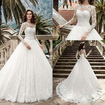 Ball Gown Church Princess Wedding Dress White Ivory Long Sleeve Lace Bridal Gown