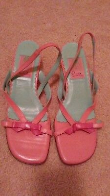 0ebc8a3ae8e Lilly Pulitzer Pink Blue Kitten Heel Slingback Sandals Shoes Size 7.5M
