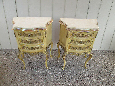 58321 Pair Vintage French Carved Gold Marble Top Nightstands