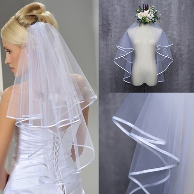 Women Wedding Dress Veil Two Layers Tulle Rbbon Bridal Edge Veils Accessories