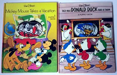 Lot of (2) WALT DISNEY'S Puppet Books: Mickey Mouse & Donald Duck VINTAGE