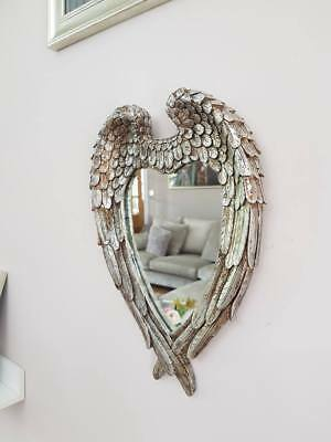Vintage French Antique Style Wall Art Mirror Ornate shabby Angel Wings Silver