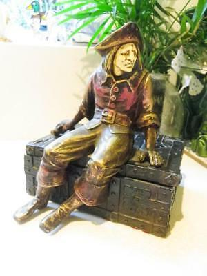 Rare Antique Pirates Treasure Chest - Heavy Metal Box Pirate sitting on the Lid
