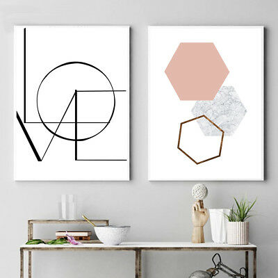 LOVE Letter Art Canvas Nordic Poster Print Minimalist Geometry Abstract Painting