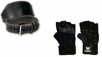PS Pilot 1 X WEIGHT LIFTING PADDED LEATHER GLOVES + 1 X LEATHER GYM BELT