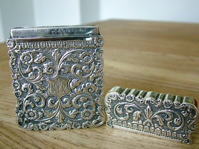 Top Quality Signed Anglo Indian Raj Era Solid Silver Kutch Visiting Card Case Nr