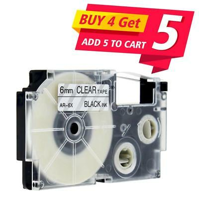 Compatible for Casio XR-6X Black on Clear 6mm Label Tape Cartridge KL430 KL820