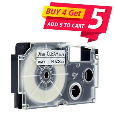 Compatible for Casio XR-9X Black on Clear 9mm Label Tape Cartridge KL-120 KL-750