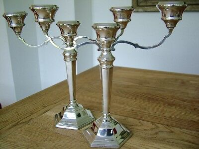 Pair Hm1969 English Solid Silver Candelabra Candlestick Sanders & Mackenzie  Nr