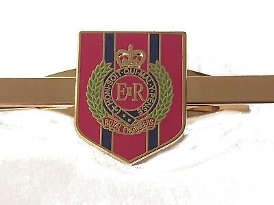 Royal Corps of Engineers Regimental Military Tie Clip Slide Shield