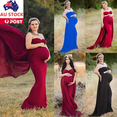 Pregnant Women Off Shoulder Strapless Long Maxi Dress Maternity Photography Prop