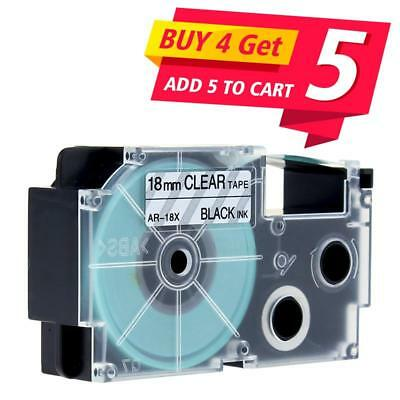 Compatible for Casio XR-18X Label Tape Black on Clear 18mm KL-120 KL