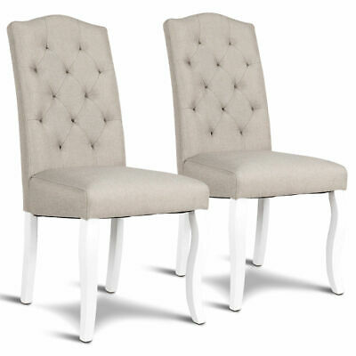 Set of 2 Fabric Upholstered Dining Chair Tufted Armless w/ Solid Wood Legs Beige