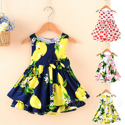 UK Summer Toddler Baby Girls Party Dress Tassel Sundress Clothes Age 2-7Years HG