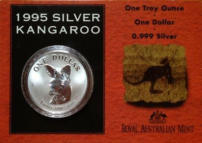 1995 $1 SILVER 1oz  KANGAROO FROSTED..UNCIRCULATED on CARD.