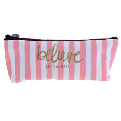 Pencil Case Bag - Makeup Bag Case with Zipper - Canvas Pink & White Stripes