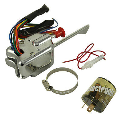 12V Universal Street Hot Rod Turn Signal Switch + Flasher For Ford Buick GM -meg