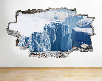 H486 Ice Bergs Glacier Ocean Melt Smashed Wall Decal 3D Art Stickers Vinyl Room