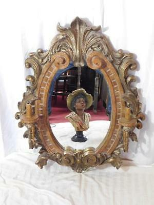 A Large And Imposing Highly Decorative Vintage Wall Mirror With Light Sconces