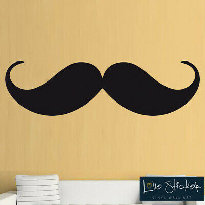 Moustache Cool Retro Living Room Hall Wall Art Stickers Decals Vinyl Home Room D