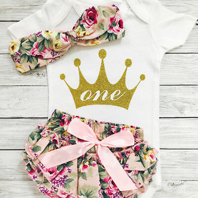 3PCS Baby Girls 1st Birthday Outfits Clothes Romper Tops+Shorts Headband Set