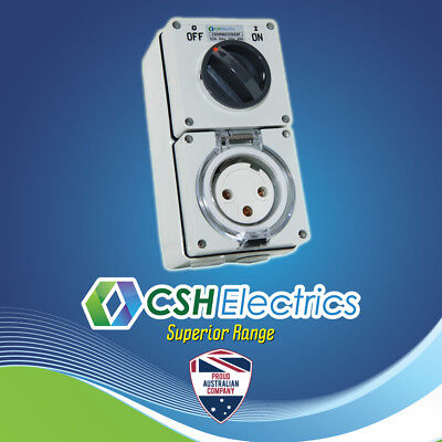 IP66 Round 3 Pin 32 Amp Single Phase Switched Socket Outlet Weatherproof