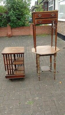 joblot of vintage antique furniture swivel bookcase hexagonal table & cabinet