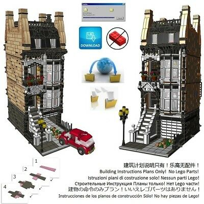 Lego Brownstone Terrace 2 Instructions Modular Custom Building Design City Town