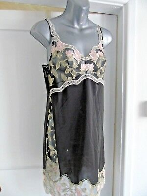 Ladies Black & Cream Embroidered Lace Trimmed Slip Petticoat Size Med 10 - 12