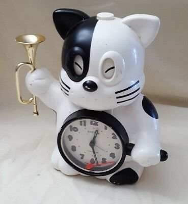 Vintage Rise & Shine Rhythm Alarm Clock Cat Japan parts or repair only