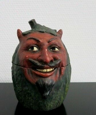 ANTIK HUMIDOR_BERNARD BLOCH_TOBACCO JAR_DEVIL_TERRACOTTA_BB_1890 Germany_RARE