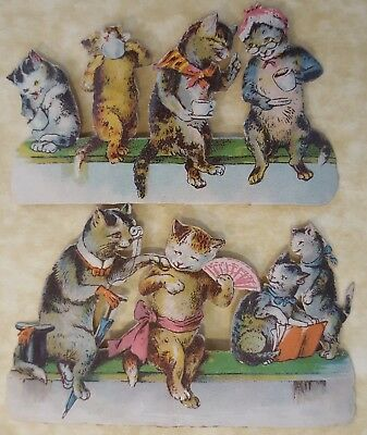 Victorian Scraps , Humanized Cats ,  Approx 9 X 5 Cm