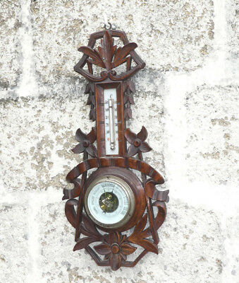 Antique BLACK FOREST Style Carved Wood Barometer French ART NOUVEAU Edelweiss