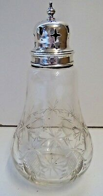 Antique James Deakin & Sons Silver and Cut Glass Sugar Castor - Sheffield 1907