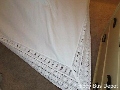 Vintage Italian 100x114 White Flat Sheet Embroidered Cutwork Lace  STUNNING