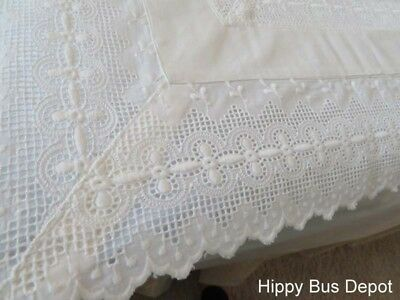 Vintage Italian PAIR 3 Sided Lace Cutwork Embroidered Pillowcases