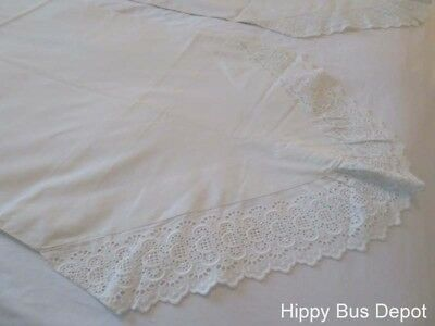 Vintage Italian PAIR Pointed End Lace Cutwork Embroidered Pillowcases