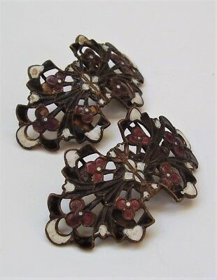 Beautiful Antique Arts & Crafts Nouveau Enamel Copper Shoe Buckles Clips