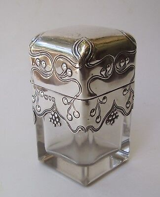 Rare 1900 John Grinsell & Sons Nouveau Sterling & Glass Scent Bottle & Stopper