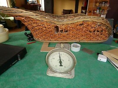 Primitive Vintage Nursery Baby Scale With Wicker basket shower gift 25lb
