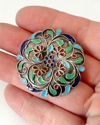 Early Antique Russian Sterling Silver Enameled Cloisonne Brooch