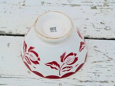 Antique old French 1900 /1930  Digoin Cafe au lait bowl  burgundy on off white